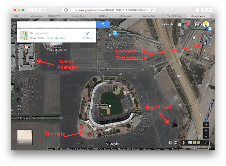 Annotated Angel's Stadium and surrounding area