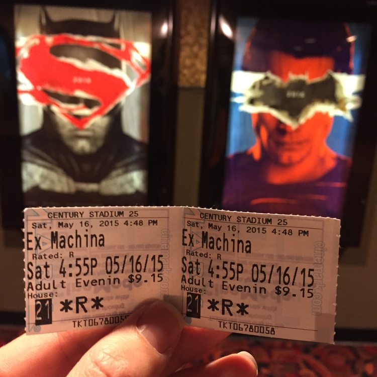 Ex Machina ticket stubs with Batman v Superman: Dawn of Justice posters behind.