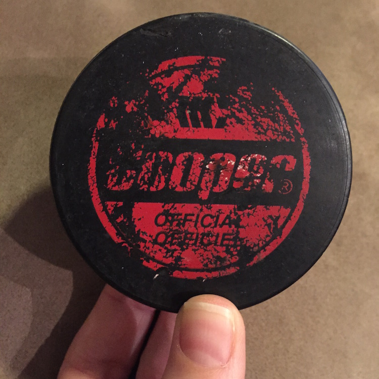 Ceebs got pucked by Pacey. Joshua Jackson gave her this puck during the filming of D2: The MightyDucks.