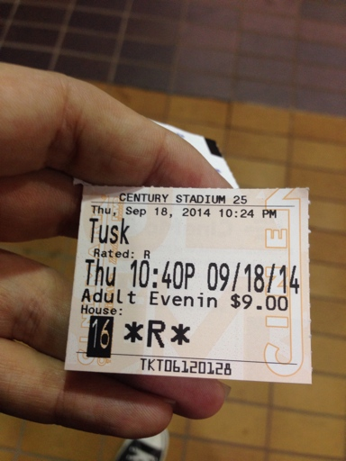Ceebs' ticket stub from Tusk, date September 18, 2014 at 10:40 PM
